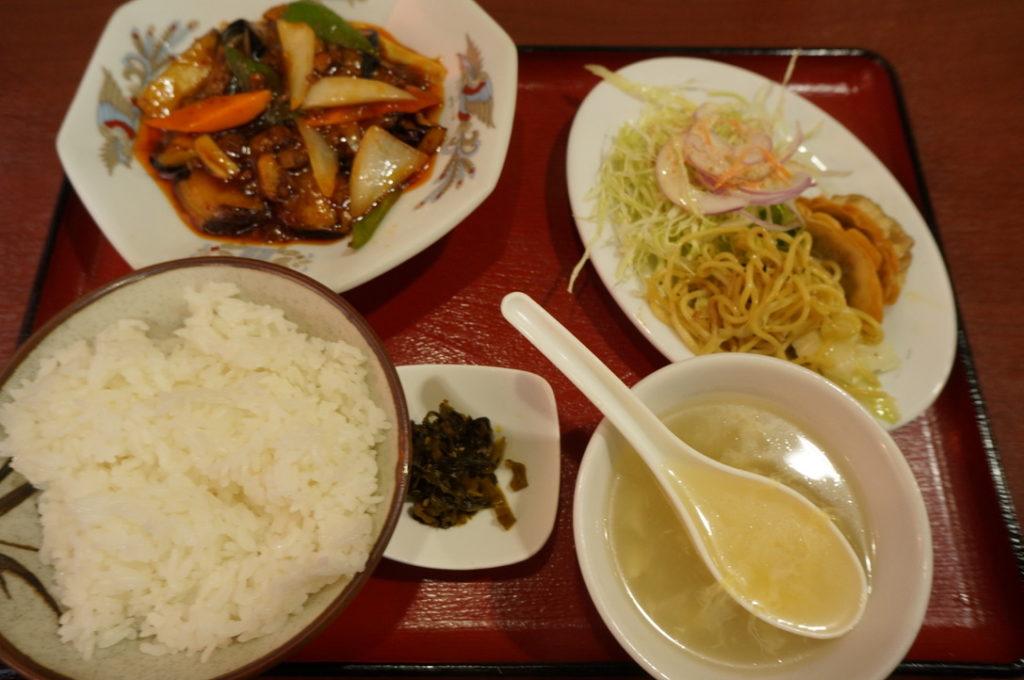 香琳園 豚肉と茄子の甘辛炒め定食