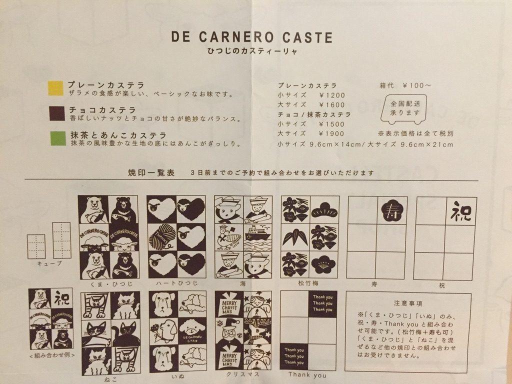 デ カルネロ カステ 焼印リスト