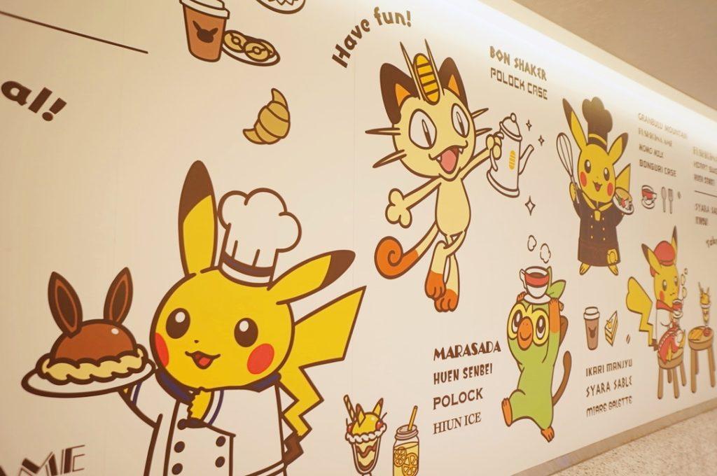 ポケモンカフェの壁に書かれているイラスト