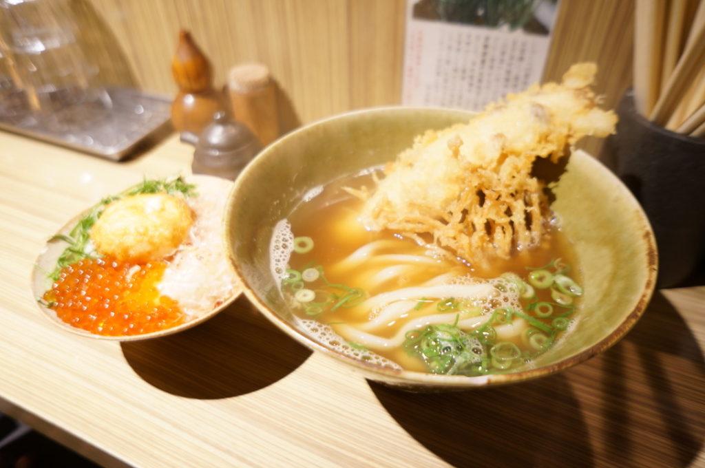 本町製麺所のいくら温玉天定食